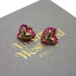 ヴィヴィアンウエストウッド Vivienne Westwood ピアス ハート ピンクストーンx金属素材 ピンクxゴールド 定番人気|brandvalue-store