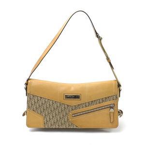 クリスチャンディオール Christian Dior ショルダーバッグ トロッター柄 レザーxキャンバス ベージュ系 定番人気|brandvalue-store