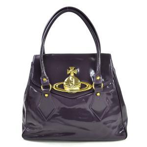 ヴィヴィアンウエストウッド Vivienne Westwood ハンドバッグ オーブ パテントレザーx金属素材 パープルxゴールド金具 定番人気|brandvalue-store
