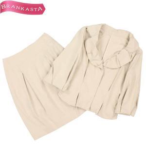 ズッケロコレクション スカートスーツ セットアップ 38 M相当 七分袖ジャケット レディース ライ...