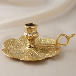 燭台1灯C 真鍮製品金色 ブラス イタリア製アンティーク調雑貨キャンドルスタンド|brass-alivio