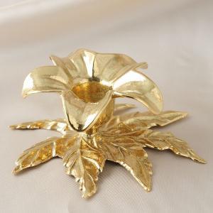 燭台1灯リリー 真鍮製品金色 ブラス イタリア製アンティーク調雑貨キャンドルスタンド|brass-alivio