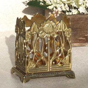 ペンスタンド  ペンホルダー  ひまわり 真鍮製品金色 ブラス イタリア製アンティーク調雑貨|brass-alivio