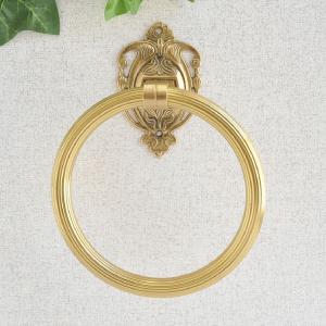 タオルハンガーRリング 真鍮製品金色 ブラス イタリア製アンティーク調雑貨|brass-alivio