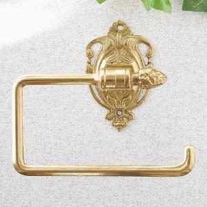 トイレットペーパーホルダーRスクエア 真鍮製品金色 ブラス イタリア製アンティーク調雑貨タオルハンガー|brass-alivio