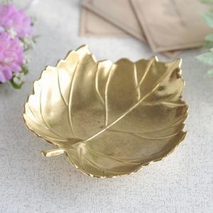 リーフ型トレー 灰皿  真鍮製品金色 ブラス イタリア製アンティーク調雑貨|brass-alivio