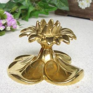燭台1灯A 真鍮製品金色 ブラス イタリア製アンティーク調雑貨キャンドルスタンド|brass-alivio