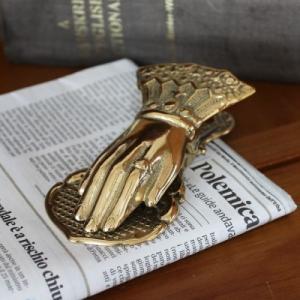 ペーパークリップ手(小) 真鍮製品金色 ブラス イタリア製アンティーク調雑貨|brass-alivio