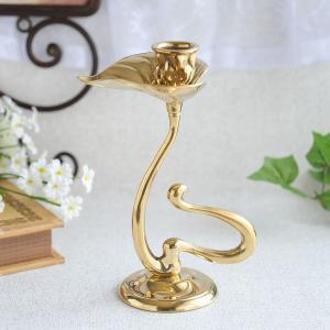 燭台1灯カラー 真鍮製品金色 ブラス イタリア製アンティーク調雑貨キャンドルスタンド|brass-alivio