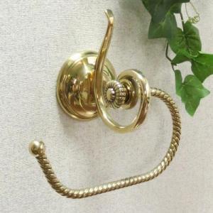 トイレットペーパーホルダー ロープ 真鍮製品金色 ブラス イタリア製アンティーク調雑貨タオルハンガー|brass-alivio