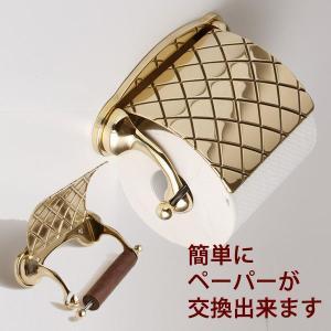 トイレットペーパーホルダー チェック 真鍮製品金色 ブラス イタリア製アンティーク調雑貨|brass-alivio|02