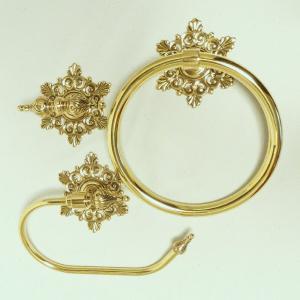 10%OFF トイレセットスノー  真鍮製品金色 ブラス イタリア製アンティーク調雑貨 brass-alivio