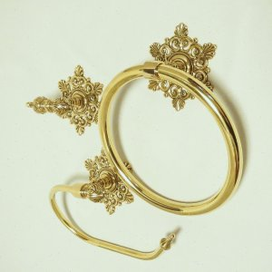 10%OFF トイレセットスノー  真鍮製品金色 ブラス イタリア製アンティーク調雑貨 brass-alivio 02