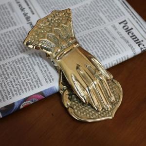 ペーパークリップ手(大) 真鍮製品金色 ブラス イタリア製アンティーク調雑貨|brass-alivio