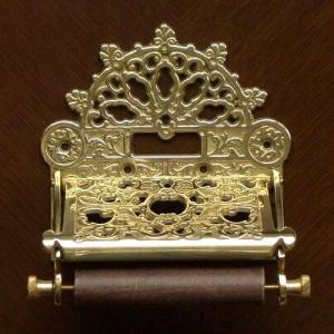 トイレットペーパーホルダークラシック 真鍮製品金色 ブラス イタリア製アンティーク調雑貨|brass-alivio