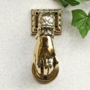 ドアノッカー手 真鍮製品金色 ブラス イタリア製アンティーク調雑貨|brass-alivio