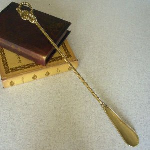 靴べら ロープ 真鍮製品金色 ブラス イタリア製アンティーク調雑貨|brass-alivio