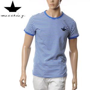 マッキアジェイ Macchia J ボーダーTシャツ メンズ 半袖 MJTS16 02 ホワイト×ブ...