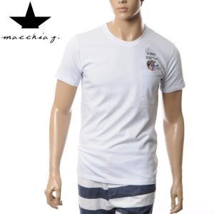 マッキアジェイ Macchia J クルーネックTシャツ メンズ 半袖 MJTS16 02 ホワイト...
