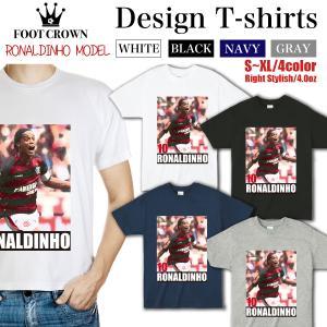 Tシャツ メンズ ブランド フットクラウン ファッション 半袖 丸首 おしゃれ ロゴ サッカー ロナ...