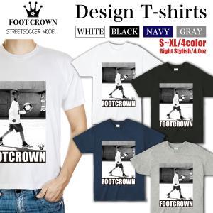 Tシャツ メンズ ブランド フットクラウン ファッション 半袖 丸首 おしゃれ ロゴ サッカー フッ...