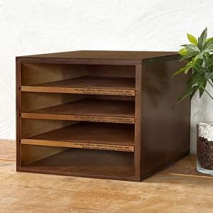 書類ケース レターケース A4 木製 引き出し 4段 No.2 書類整理 棚 収納 チェスト アンティーク BREA|brea-interior