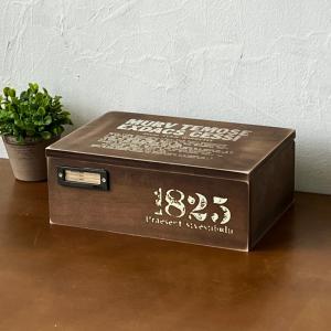 木箱 収納ボックス 救急箱 裁縫箱 木製蓋付き箱 アンティーク ダークブラウン BREAの写真