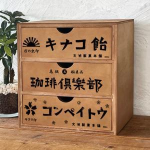 北海道の工場で職人が製作しています。  昭和の駄菓子屋さんを思わせるレトロ柄の引き出し。 本体は木目...