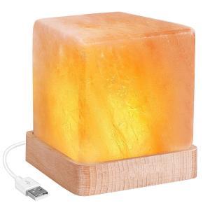 Lucktao 天然 ヒマラヤ岩塩ランプ USBプラグ ソルトランプ 台座木製 分離式 空気浄化と癒しの灯り 室内照明 インテリア マイナスイオン効果/安眠効果/癒し効果|break19