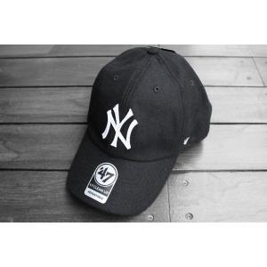 '47ブランド ニューヨーク ヤンキース ウール クリーン アップ キャップ ブラック / '47 BRAND MLB NEW YORK YANKEES WOOL CLEAN UP CAP【BLACK】|breaks-general-store