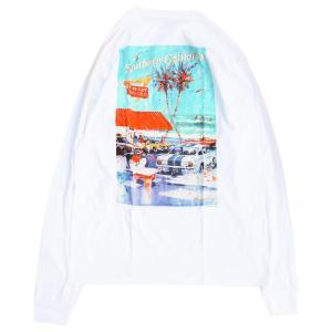 インアンドアウト バーガー アット ザ ビーチ ロングスリーブ Tシャツ ロンT ホワイト / IN-N-OUT BURGER AT THE BEACH L/S TEE [WHITE]|breaks-general-store