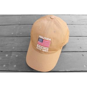 ノーティカ USA フラッグ ベースボース キャップ 星条旗 帽子 キャメル / NAUTICA USA FLAG BASEBALL CAP [CAMEL]|breaks-general-store