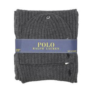 ポロ ラルフローレン マフラー & ビーニー パック セット 帽子 ニット 帽 チャコール / POLO RALPH LAUREN MUFFLER & BEANIE PACK [CHARCOAL]|breaks-general-store