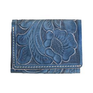 ダブルアールエル ツールド インディゴ カービング レザー カードケース / RRL TOOLED INDIGO CARVING LEATHER CARDCASE [BLUE]|breaks-general-store