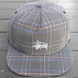 ステューシー ストック ロゴ グレン チェック スナップ バック キャップ 帽子 / STUSSY STOCK LOGO GLEN CHECK SNAPBACK CAP [GLEN CHECK] breaks-general-store
