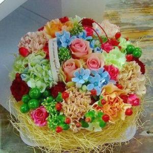 フラワーケーキ遊花 誕生日などフラワーギフトには花畑のような...