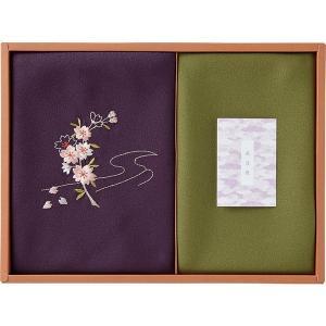 包装・のし無料*草花の遊び 刺繍入り二巾風呂敷&金封包み 紫 250-14 (お返し 結婚 出産 快気 法事 香典返し) breezebox