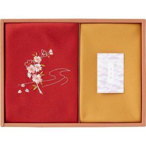 包装・のし無料*草花の遊び 刺繍入り二巾風呂敷&金封包み 赤 250-14 (お返し 結婚 出産 快気 法事 香典返し) breezebox