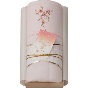 包装・のし無料*王華 桜刺しゅうパイル肌布団(木箱入) ピンク OK1706 (お返し 結婚 出産 快気 法事 香典返し) breezebox