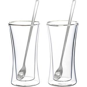 ウェルナーマイスター 耐熱二重ガラス・タンブラー&ロングスプーンペアセット 800-549  内祝い ギフト 出産 結婚 快気 法事|breezebox