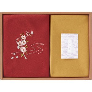 草花の遊び 刺繍入り二巾風呂敷&金封包み 紫 250-14  内祝い ギフト 出産 結婚 快気 法事|breezebox