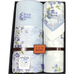 ニューベーシック ウォッシャブル肌掛けふとん&四方額付き綿毛布(毛羽部分) ブルー RNB-4106B  内祝い ギフト 出産 結婚 快気 法事 breezebox
