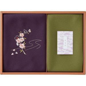 草花の遊び 刺繍入り二巾風呂敷&金封包み 紫 250-14B  内祝い ギフト 出産 結婚 快気 法事 breezebox