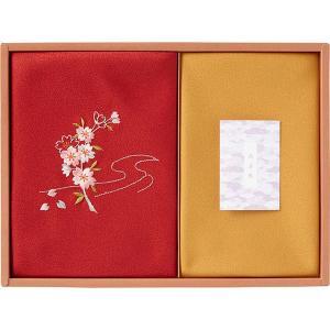 草花の遊び 刺繍入り二巾風呂敷&金封包み 赤 250-14A  内祝い ギフト 出産 結婚 快気 法事 breezebox