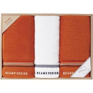 BEAMS DESIGN ラインドット フェイスタオル2P&ウォッシュタオル オレンジ 51-3029250  内祝い ギフト 出産 結婚 快気 法事 breezebox