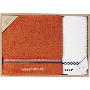 BEAMS DESIGN ラインドット バスタオル&ウォッシュタオル オレンジ 51-3029350  内祝い ギフト 出産 結婚 快気 法事 breezebox