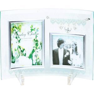 包装・のし無料*ジュエリーチャームガラスフォトフレーム2W GF-02051 (お返し 祝い 結婚 出産 快気 法事 香典返し)|breezebox