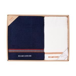 包装・のし無料*ビームス BEAMS DESIGN ラインドット バス&フェイスタオル ネイビー 51-3029400(お返し 内祝い 結婚 出産 新築 快気 法事 ご挨拶) breezebox