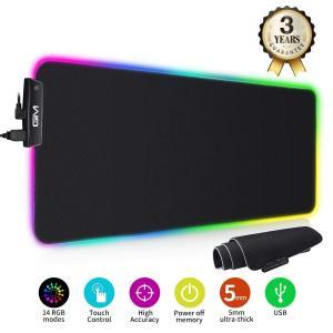 ICETeK ゲーミング マウスパッド 大型 RGB 発光 マウスパッド USB ゲーム マウスパッ...