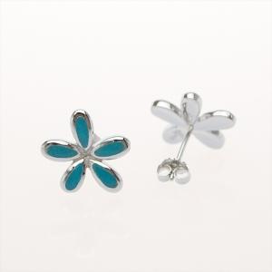 ハワイアンジュエリー ピアス プルメリア ピアス ターコイズ  魅力を引き出すハワイ代表の美しい花 Silver925 ピアス型イヤリング|breezyisland